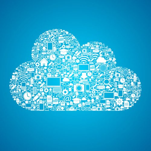images in the shape of a cloud on a blue background